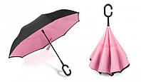 Зонт Наоборот Up-brella - Зонт Обратного Сложения (Обратный Зонт) Антизонт - Смарт зонт (Умный Зонт) Черный/розовый (an5286)