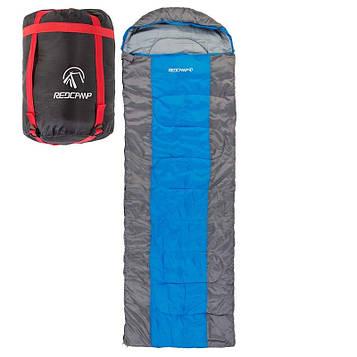 Спальний мішок з капюшоном REDCAMP RC484/3-18BR (PL,на 400 м2, колір синій-сірий)
