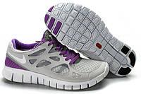 Кроссовки женские беговые Nike Free Run Plus 2 (в стиле найк фри ран) серые, фото 1