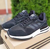 Мужские кроссовки Adidas ZX 500 черные с белым 41-46р. Фото в живую. Реплика