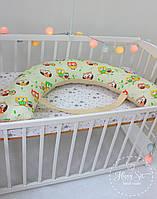 Подушка для беременних , подушка для вагітних ,подушка для кормления 3 в 1 в бежевих тонах 1901