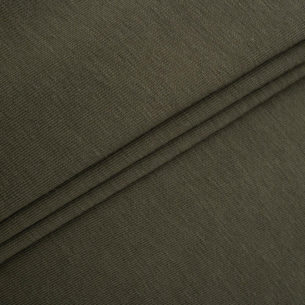 Трикотажное полотно Стрейч кулир, 40/1 Пенье, цвет - хаки, в наличии, купить в Украине