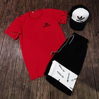 Мужской комплект футболка шорты Adidas красный с черным. Живое фото. Реплика. 3 цвета!, фото 1