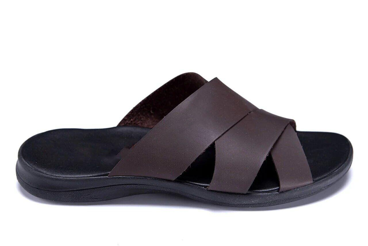 Мужские кожаные летние шлепанцы-сланцы Е-series Biom Brown .