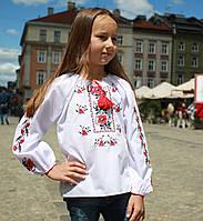 """Украинская сорочка вышиванка для девочки """"Маки"""" с длинным рукавом, фото 1"""