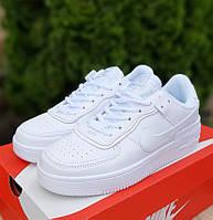 Женские кроссовки Nike Air Force 1 Shadow весна-осень низкие белые. Живое фото. Реплика, фото 1