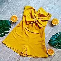 Женский ромпер, комбинезон с шортами и бантом New Look, жёлтый
