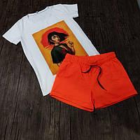 Женский костюм шорты с футболкой комплект Japan белый с оранжевым. Живое фото, фото 1