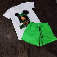 Женский костюм шорты с футболкой комплект ART белый с зеленым. Живое фото, фото 1