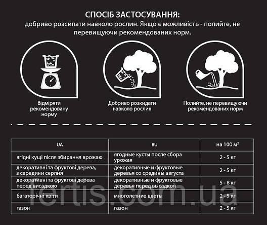 Осіннє добриво для фруктових дерев, плодово-ягідних кущів, декоративних рослин Fertis, 20 кг, фото 2