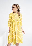 """Приталенное миди-платье в горох """"OLKO"""" с завышенной талией (4 цвета)"""