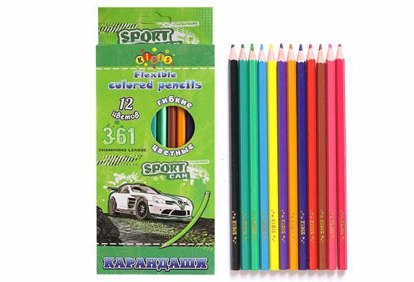 Олівці кольорові KIDIS SPORT CAR 12 кольорів гнучкі