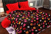 Постель полуторная Цветные Сердца. Комплект постельного белья. Ткань Бязь Голд: 100% Хлопок