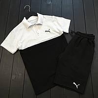 Мужской летний комплект Puma (шорты, тениска), шорты Puma, поло Puma (black/white)