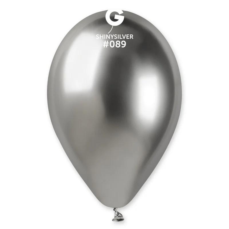 """Латексный круглый шар Gemar 13""""/33 хром серебряный"""