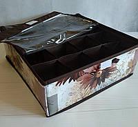 Органайзер для белья 16 секций, с прозрачной крышкой. Белый в цветы