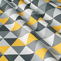 Декоративная ткань с желто-серой мозаикой Турция 84485v2