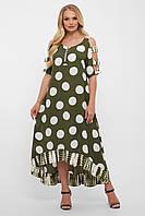 Длинное летнее платье в горох большого размера в горошек, размер 52-58