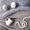 Плед вязаный ручной работы цепочка 140х90 цвет серо-голубой