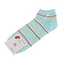 Шкарпетки м'ятні в рожево-червоно-салатову + жовту смужку (1пара) (59806.020)