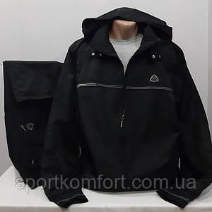 Прогулянковий спортивний костюм з плащової тканини турецької фабрики Soccer чорний розміри 3хл