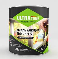 """Алкидная краска эмаль по бетону и дереву Желтая 0,9 кг ПФ-115 (по металлу) ТМ """"Ultra tone"""""""