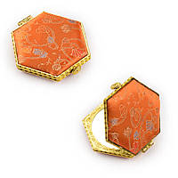 Дзеркало косметичне шестикутне в китайському стилі 8см помаранчеве (44101.001)