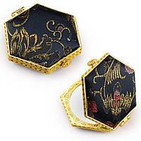 Дзеркало косметичне шестикутне в китайському стилі чорне (44101.003)