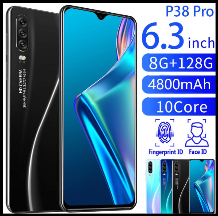 Смартфон P38pro (черный) Экран 6.3 дюйма, умный телефон Android 8 + 128G 10 ядер face id