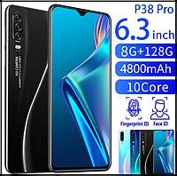 Смартфон P38pro (черный) Экран 6.3 дюйма, умный телефон Android 8 + 128G 10 ядер face id, фото 1