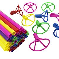 Палочки и насадки с зажимом для шаров цветные 40 см, 50 шт