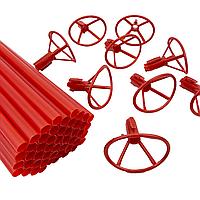 Палочки для шариков фольгированных + насадки Красные, 50 шт (40 см), фото 1