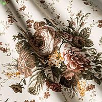 Декоративная ткань с крупными букетами из коричнево-бежевых роз Турция 81329v31