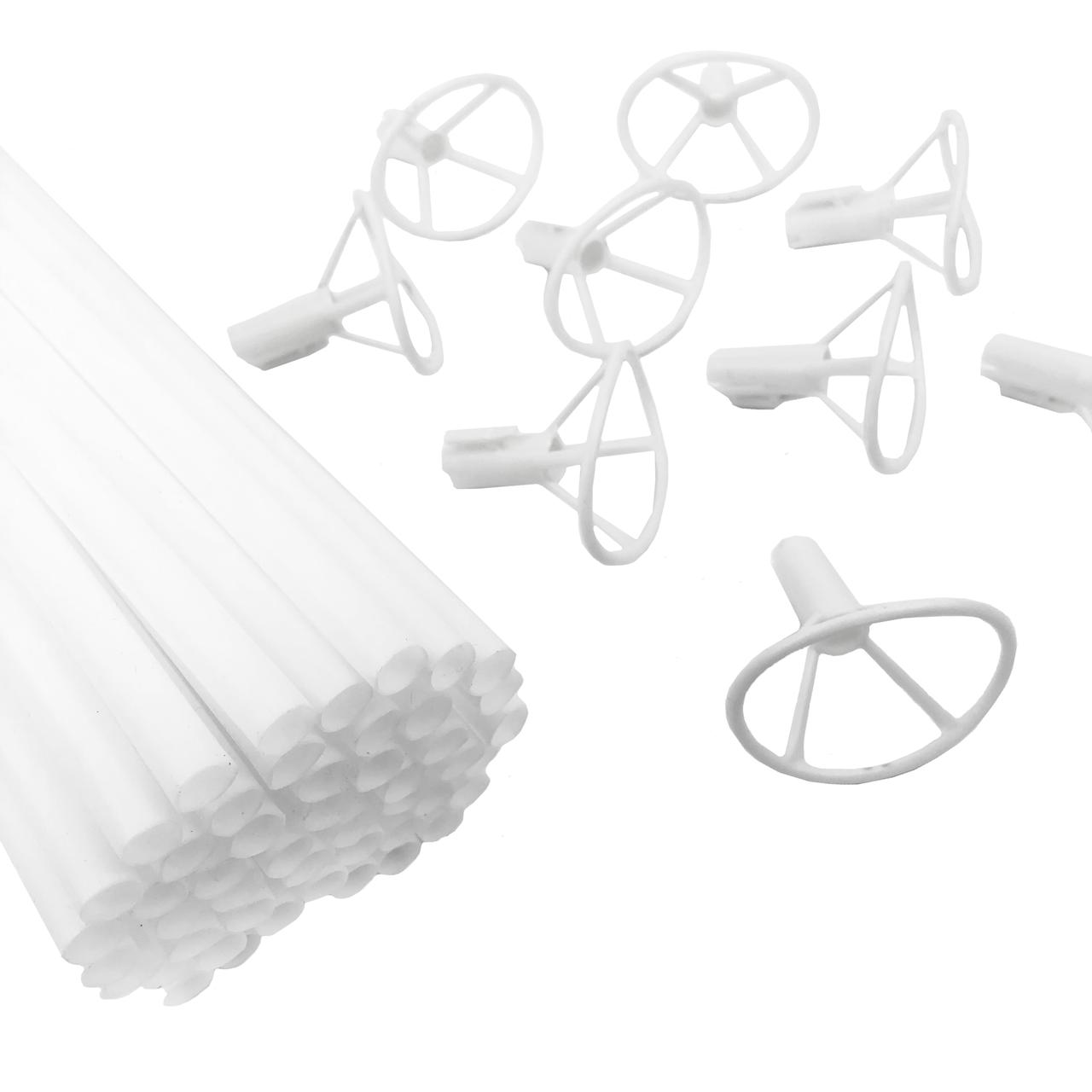Держатели с насадками для фольгированных шариков Белые, 50 шт (40 см)
