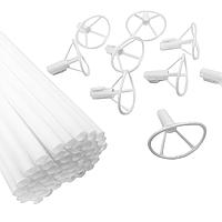 Держатели с насадками для фольгированных шариков Белые, 50 шт (40 см), фото 1