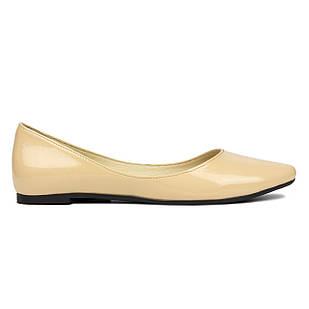 Женские бежевые балетки 37 размер из лакированной кожи Woman's heel на плоской подошве