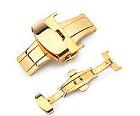 Застежка-бабочка из нержавеющей стали 316L золотистая для ремешка. 22 мм