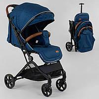 Детская прогулочная коляска для мальчика JOY C-1001 с телескопической ручкой для перевозки, синяя