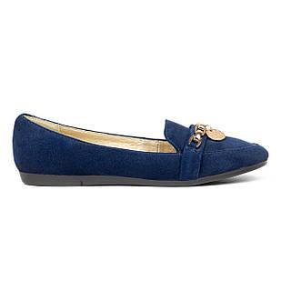 Замшевые темно-синие женские мокасины 36 размер на низкой подошве Woman's heel с закругленным носком