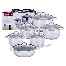 Набор посуды Kamille из нержавеющей стали 12 предметов для индукции и газа (1.8л, 2.5л, 3.8л, 5.8л) KM-5634S
