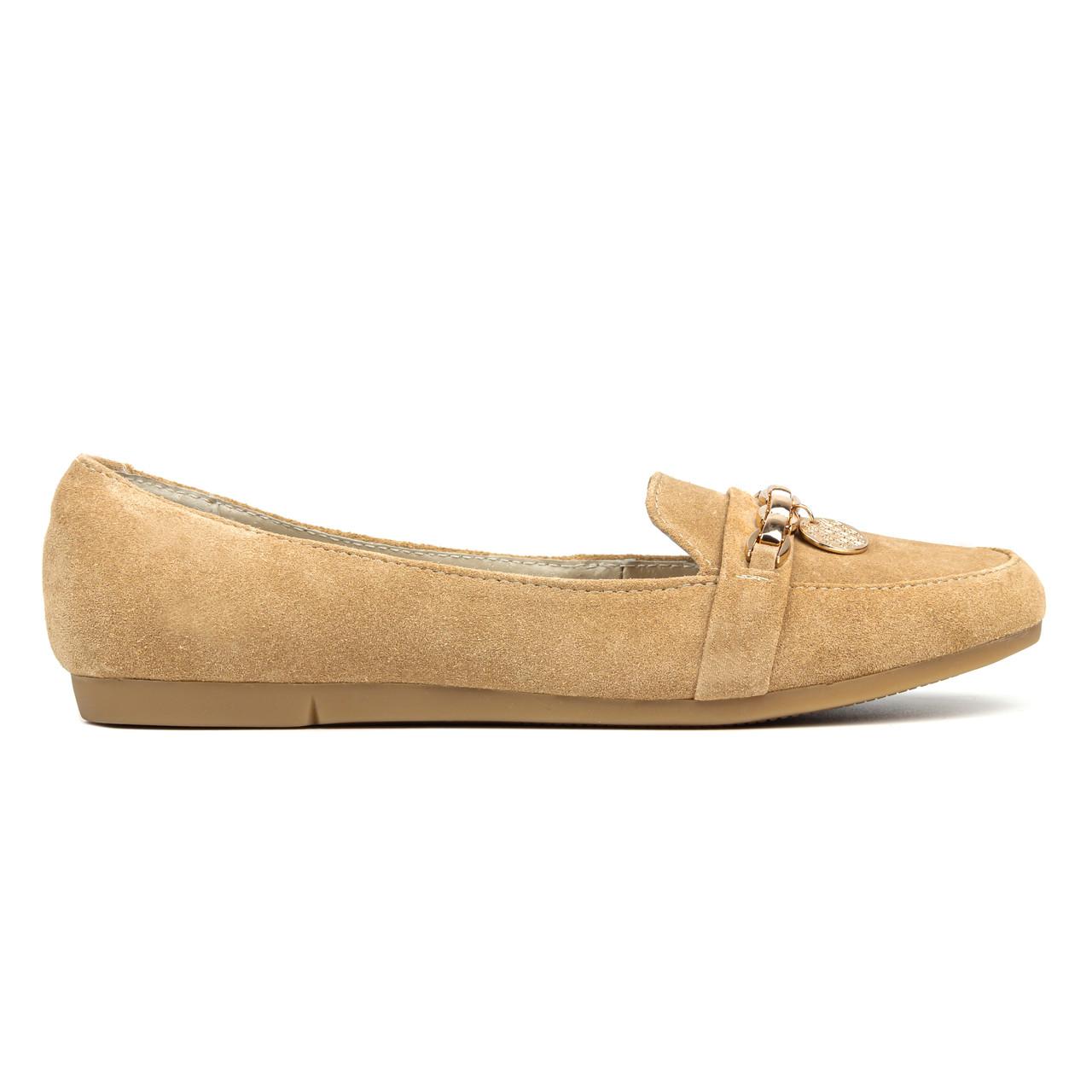 Мокасины женские Woman's heel 39 бежевые (О-622)