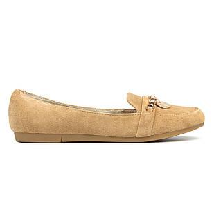 Замшевые бежевые женские мокасины 39 размер на низкой подошве Woman's heel с закругленным носком