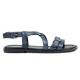 Кожаные женские сандали 36-39 Woman's heel синие открытые и легкие, в римском стиле