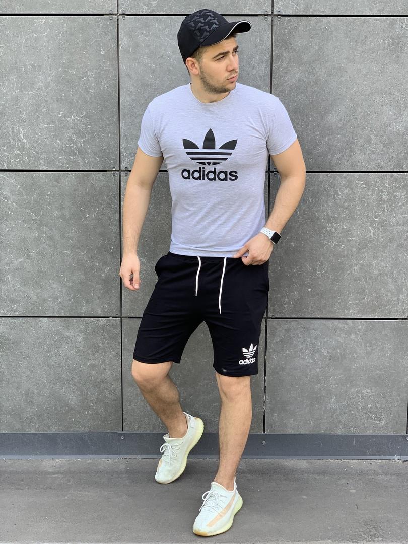 Мужской комплект Adidas футболка + шорты. Стильный костюм для мужчин.