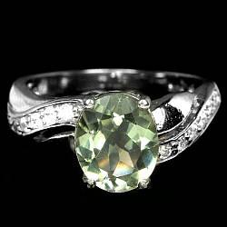 Серебряное кольцо с зеленым аметистом, 2372КЦА