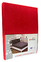 Махровая простынь с резинкой 220х240 см и две наволочки 50х70 см цвет красный Evibu