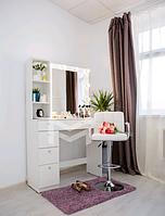Гримерный туалетный столик визажиста Jasmine М6208 с подсветкой и полочками на 1 тумбу