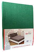 Махровая простынь с резинкой 220х240 см и две наволочки 50х70 см цвет зеленый Evibu