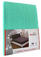 Махровая простынь с резинкой 220х240 см и две наволочки 50х70 см цвет мяты Evibu