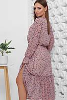 Платье летнее фиолетовое шифоновое макси с цветочным прином и длинным рукавом. Размеры 42-52